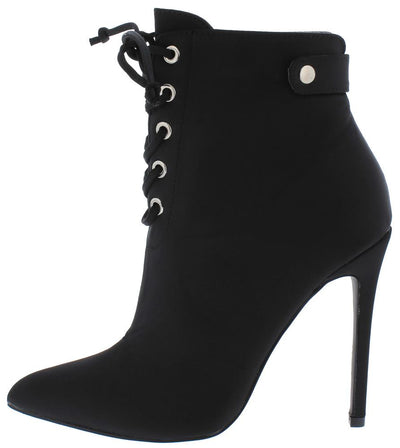 Brianna Black Lace Up Stiletto Ankle Boot - Wholesale Fashion Shoes