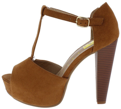 Brina01 Tan Suede Fabric Peep Toe T Strap Platform Stacked Heel - Wholesale Fashion Shoes