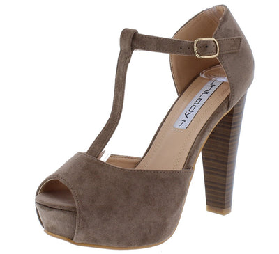 Brina31 Taupe Peep Toe T Strap Platform Stacked Heel - Wholesale Fashion Shoes