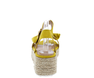 Broadwalk13 Mustard Bow Knotted Open Toe Espadrille Wedge - Wholesale Fashion Shoes