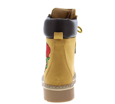 Broadway1 Camel Embroidered Rose Rugged Hiking Boot - Wholesale Fashion Shoes