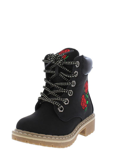 Broadway1k Black Kids Rose Patch Rugged Hiking Boot - Wholesale Fashion Shoes