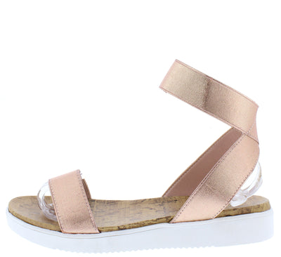 Bromance Rose Gold Open Toe Crossback Strap Sandal - Wholesale Fashion Shoes
