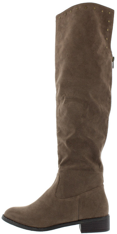 Brook01 Brown Brass Stud Plunging Back Zipper Knee High Boot - Wholesale Fashion Shoes