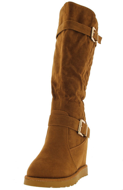 Brooks05h Tan Faux Suede Quilted Wedge Boot - Wholesale Fashion Shoes