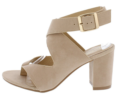 BRUNT04 BEIGE ANKLE CROSS STRAP THONG CHUNKY HEEL - Wholesale Fashion Shoes