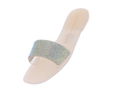 Bud Nude Open Toe Rhinestone Embellished Mule Slide Sandal - Wholesale Fashion Shoes