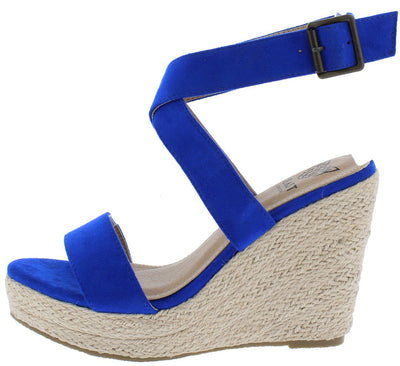 Buena01 Navy Open Toe Cross Back Strap Espadrille Wedge - Wholesale Fashion Shoes