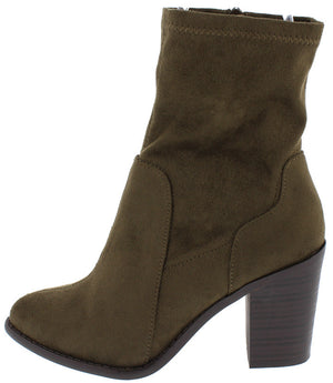 b208027397b Buffy29 Olive Pointed Toe Slight Stretch Chunky Heel Ankle Boot - Wholesale  Fashion Shoes