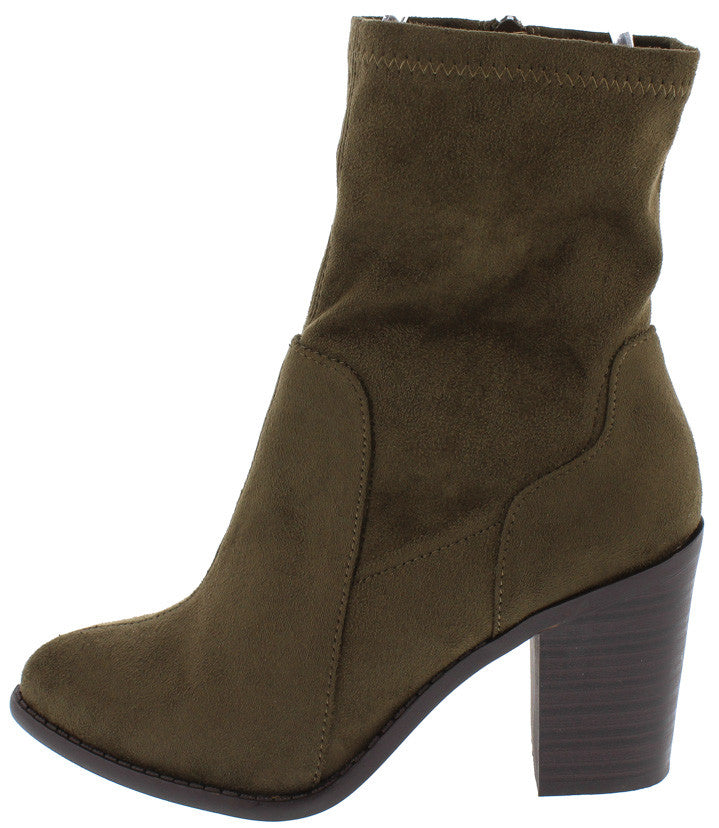 99f89ea78f0 Buffy29 Olive Pointed Toe Slight Stretch Chunky Heel Ankle Boot