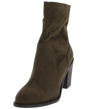 Buffy29 Olive Pointed Toe Slight Stretch Chunky Heel Ankle Boot - Wholesale Fashion Shoes