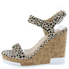 Bullock Leopard Open Toe Heel Strap Platform Cork Wedge - Wholesale Fashion Shoes