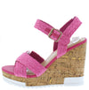 Bumper Fuchsia Braided Cross Strap Open Toe Cork Wedge - Wholesale Fashion Shoes