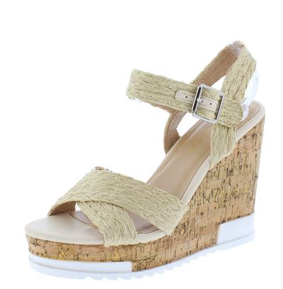 Bumper Natural Braided Cross Strap Open Toe Cork Wedge - Wholesale Fashion Shoes