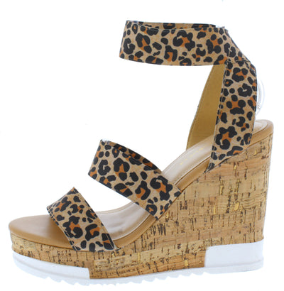 Burano Leopard Open Toe Cross Ankle Strap Cork Wedge - Wholesale Fashion Shoes