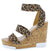 Burano Leopard Open Toe Cross Ankle Strap Cork Wedge