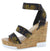 Burano Snake Open Toe Cross Ankle Strap Cork Wedge