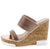 Burberry Rose Gold Rhinestone Dual Band Cork Platform Wedge