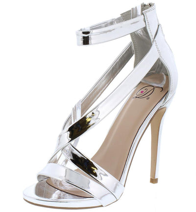 Burns Silver Open Toe Crisscross Ankle Strap Heel - Wholesale Fashion Shoes