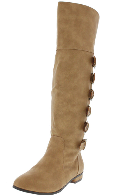 Carine Natural Buckle Riding Boot - Wholesale Fashion Shoes