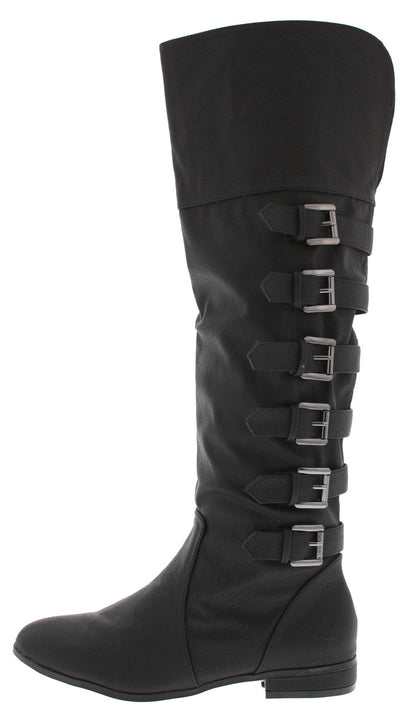 Carine Black Buckle Riding Boot - Wholesale Fashion Shoes