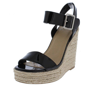Bursts Black Patent Open Toe Ankle Buckle Espadrille Wedge - Wholesale Fashion Shoes