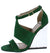 Burton01 Green Nubuck Pu Open Toe Lucite Wedge Block Heel