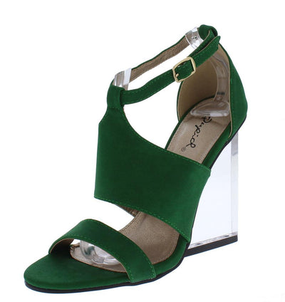 Burton01 Green Nubuck Pu Open Toe Lucite Wedge Block Heel - Wholesale Fashion Shoes