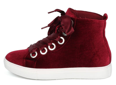 Cala42 Burgundy Velvet Woman's Flat - Wholesale Fashion Shoes