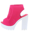 Camila01 Fuchsia Perforated Knit Cut Out Ankle Boot - Wholesale Fashion Shoes