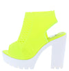 Camila01 Lime Perforated Knit Cut Out Ankle Boot - Wholesale Fashion Shoes