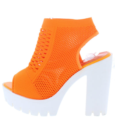 Camila01 Orange Perforated Knit Cut Out Ankle Boot - Wholesale Fashion Shoes