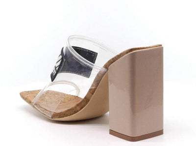 Camryn Clear Square Open Toe Vogue Lucite Mule Block Heel - Wholesale Fashion Shoes