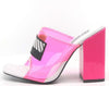 Camryn Pink Square Open Toe Vogue Lucite Mule Block Heel - Wholesale Fashion Shoes