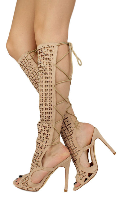 Cande Nude Laser Cut Panel Calf Wrap Stiletto Heel Boot - Wholesale Fashion Shoes
