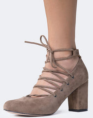 SAMANTHA TAUPE ALMOND TOE LACE UP LOW CHUNKY HEEL - Wholesale Fashion Shoes - 2
