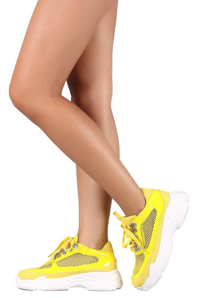 Cass Yellow Patent Mesh Lace Up Sneaker Flat - Wholesale Fashion Shoes