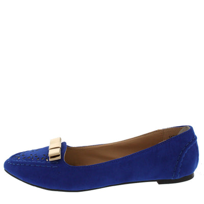 Catchy01 Blue Bow Pointed Loafer Flat - Wholesale Fashion Shoes