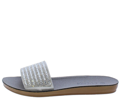 Lillian211 Silver Sparkle Open Toe Mule Slide Sandal - Wholesale Fashion Shoes