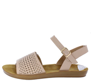 aba6bcc65f42 Skylar247 Pink Perforated Open Toe Ankle Strap Sandal - Wholesale Fashion  Shoes