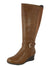 Celine1 Tan Knee High Side Buckle Wedge Boot