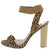 Ceylons Leopard Open Toe Cut Out Ankle Strap Block Heel