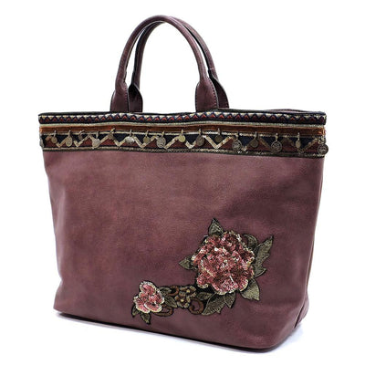 Evelyn233 Wine Aztec Border Flower Applique Handbag - Wholesale Fashion Shoes