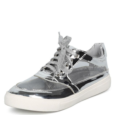 Daisy258 Silver Patent Clear Panel Lace Up Sneaker Flat - Wholesale Fashion Shoes