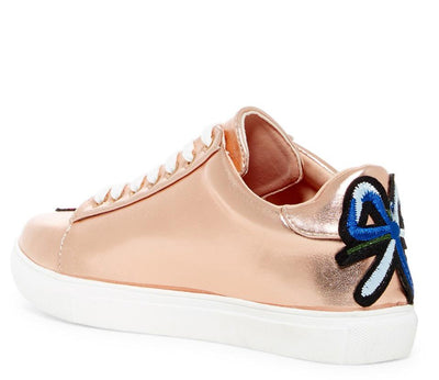 Mila147 Rose Gold Flower Embroidered Metallic Tennis Shoe Flat - Wholesale Fashion Shoes