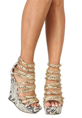 CHIC SNAKE PU OPEN TOE MULTI CHAIN STRAP WEDGE