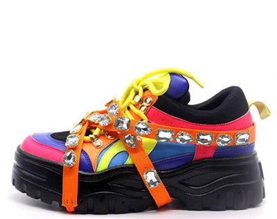 Chunk Fever Neon Multi Jeweled Strap Lace Up Sneaker Boot - Wholesale Fashion Shoes