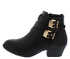 Cl14 Black Dual Buckle Stacked Heel Ankle Boot - Wholesale Fashion Shoes