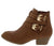 Cl14 Tan Dual Buckle Stacked Heel Ankle Boot