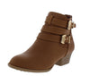 Cl14 Tan Dual Buckle Stacked Heel Ankle Boot - Wholesale Fashion Shoes